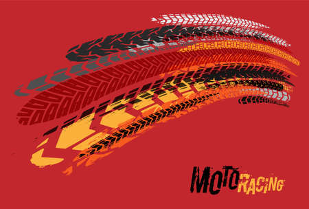 Off-Road motocross background with tire tracks imprints. Editable graphic element in different colors.