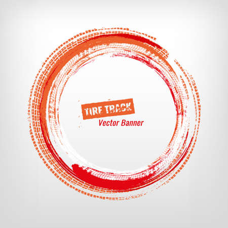 Tire track circle grunge frame. Digital vector illustration. Automotive element useful for poster, print, flyer, book, booklet, brochure and leaflet design. Editable image in orange and red colors.