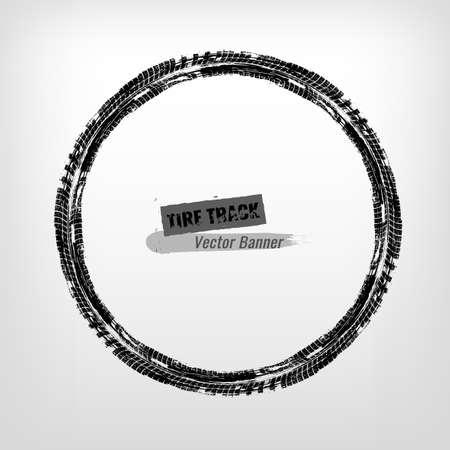 Tire track circle grunge frame. Digital vector illustration. Automotive background element useful for poster, print, flyer, book, brochure and leaflet design. Editable image in monochrome colors.
