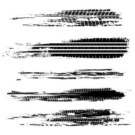 Ilustración de vector de pistas de neumáticos de automóvil. Elemento automotriz grunge útil para diseño de carteles, impresiones, volantes, libros, folletos, folletos y folletos. Imagen gráfica editable en color negro.