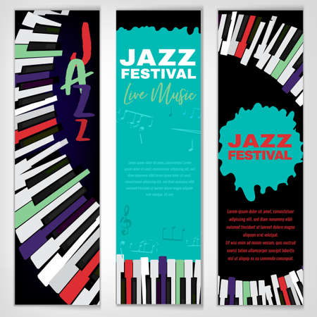 Retro jazz festival banners with a piano keyboard in bright colors. Editable vector illustration. Portrait templates in a modern style useful for musical concert or festival poster design.