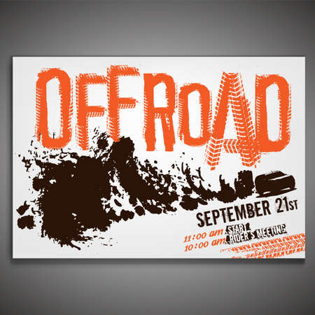 Off-Road landscapel poster with grunge lettering and a car image in a cloud of dust. Unique tire track headline. Editable graphic template in orange, white and black colors. Vector illustration.