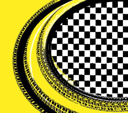 Grunge checkered racing background with tire imprints elements. Vector illustration and yellow, black and white colors. Automotive rallying concept in modern style. Illustration