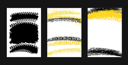 Vector automotive posters template. Grunge tire tracks backgrounds for portrait poster, digital banner, flyer, booklet, brochure and web design. Editable graphic image in black, yellow, white colors Illustration