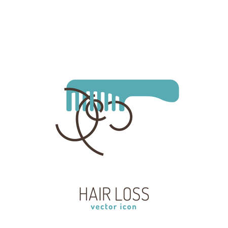 Hair loss icon. Vector illustration in flat style isolated on a white background. Beauty, dermatology and health care concept in blue and brown colors. Illustration