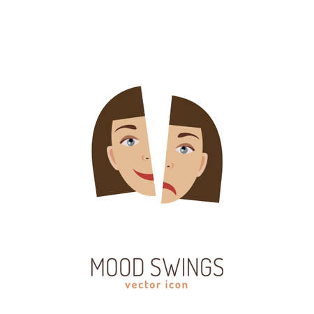 Mood swing icon. Happy, full of energy, woman face  in comparison with sad and exhausted. Vector illustration in a flat style. Beauty and health care concept in natural colors.