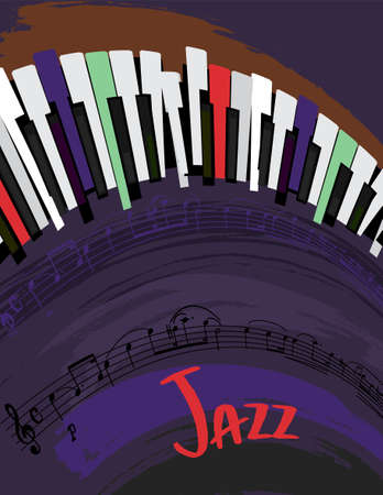 Retro jazz festival poster with a piano keyboard in bright colors. Editable vector illustration. Portrait image in a modern style useful for musical concert or festival poster design.