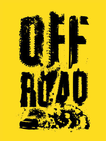 Off-Road hand drawn grunge lettering with a car image in a cloud of dust. Tire track words made from unique letters. Beautiful vector illustration. Editable graphic element in yellow and black colors. Vettoriali