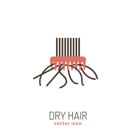 Dry hair icon. Vector illustration in flat style isolated on a white background. Beauty, dermatology and health care concept in pink and brown colors.