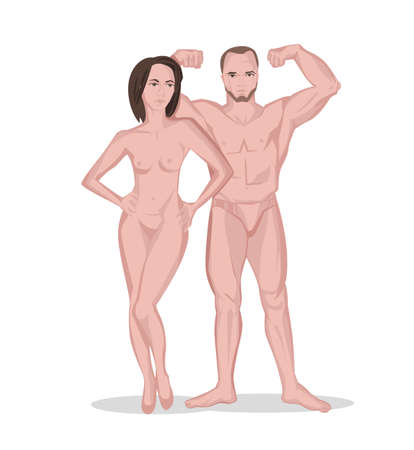 Naked man and woman. Adult couple. Posing bodybuilder. Isolated vector illustration in pink colours on white background. Beautiful medical, anatomical, education and popular-scientific concept.