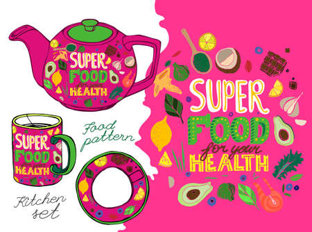 Hand drawn superfoods kitchen set. Editable vector illustration in bright colors. Unique image in modern style. Healthy and easy cooking concept.