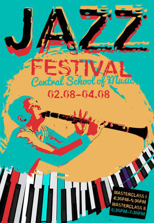 Retro jazz festival poster with a clarinetist and piano keyboard in bright colors. Editable vector illustration. Portrait image in a modern style useful for musical concert or festival poster design.
