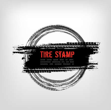 Grunge off-road post and quality stamp. Automotive element useful for banner, sign, logo, icon, label and badge design . Tire tracks textured vector illustration isolated on light greybackground. Ilustração