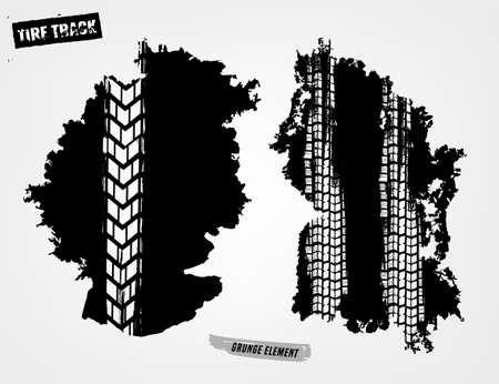Reifenspuren drucken Textur. Horizontales Grunge-Banner. Offroad-Hintergrund. Grafische Vektorillustration. Bearbeitbares Grafikbild in der schwarzen Farbe lokalisiert auf einem hellgrauen Hintergrund.