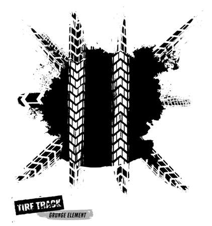 Tire Tracks Print Texture. Horizontal grunge banner. Off-road background. Graphic vector illustration. Editable graphic image in black colour isolated on a light grey background.