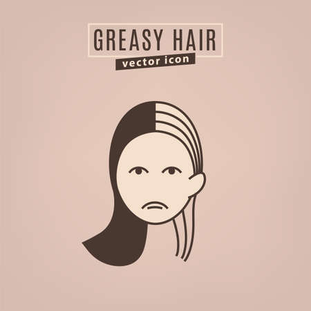 Greasy hair icon. Hair problems collection. Vector illustration in flat style isolated on a beige background. Beauty, dermatology and health care concept in brown colors.