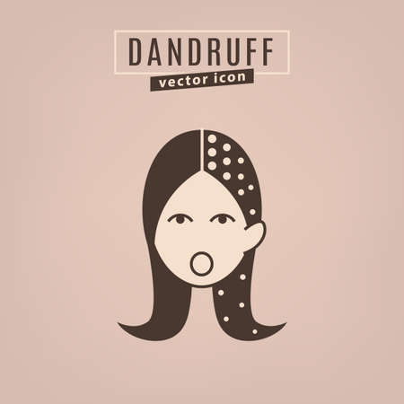 Dandruff icon. Hair problems collection. Vector illustration in flat style isolated on a beige background. Beauty, dermatology and health care concept in brown colors.