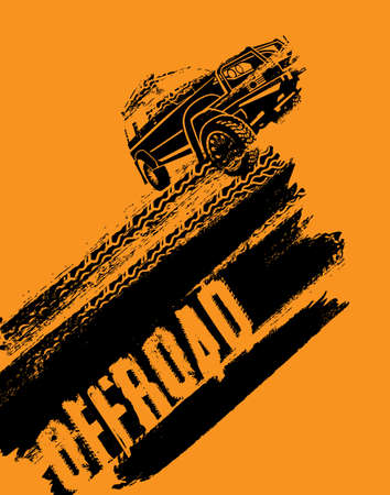 Off-road adventure element. Vector illustration in modern style with textured grunge background. Vertical layout in black and orange colors useful for leaflet, poster or print design.