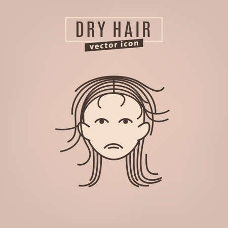 Dry hair icon. Hair problems collection. Vector illustration in flat style isolated on a beige background. Beauty, dermatology and health care concept in brown colors.