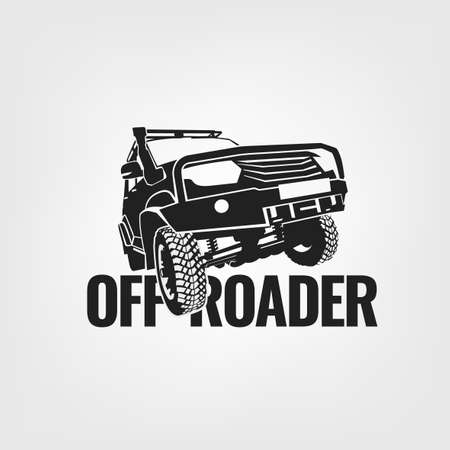 Off-road car. Off-roading suv adventure, extreme competition emblem and car club element. Beautiful vector illustration in monochrome color isolated on a light background. Vettoriali