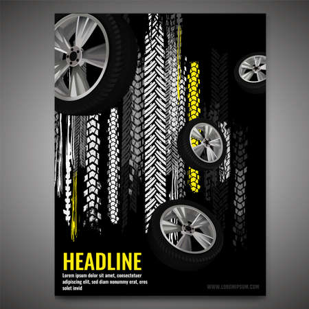 Vector automotive banner template. Grunge tire tracks background for vertical poster, flyer, booklet cover, brochure and web design. Editable graphic image in black, grey, white and yellow colors