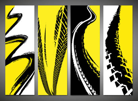 Vector automotive banner templates. Grunge tire tracks backgrounds for narrow-width vertical poster, flyer, booklet, brochure cover and web design. Editable graphic image in black, yellow, white color