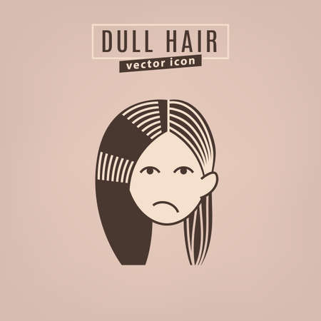 Dull hair icon. Hair problems collection. Vector illustration in flat style isolated on a beige background. Beauty, dermatology and health care concept in brown colors.