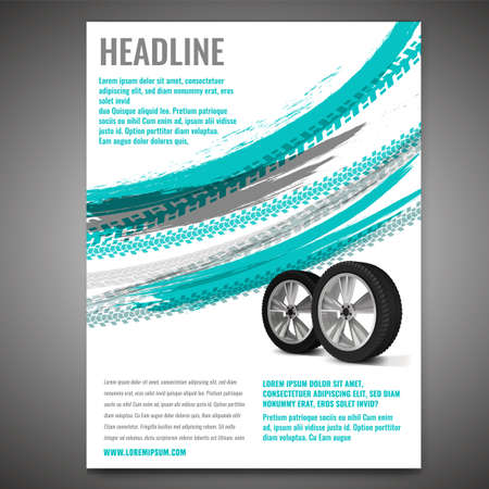 Vector automotive banner template. Grunge tire tracks background for a portrait poster, digital banner, flyer, booklet, brochure and web design. Editable graphic image in grey and blue colors