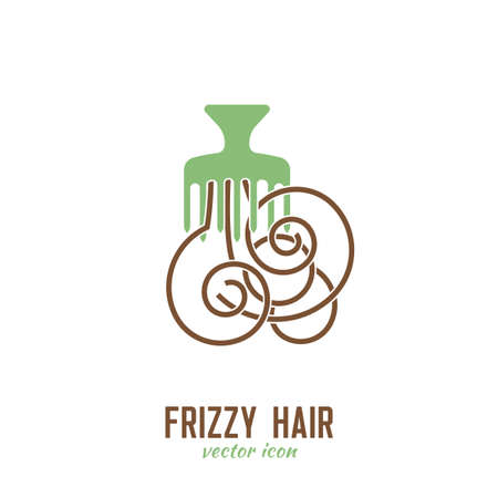 Frizzy hair icon. Hair problems collection. Vector illustration in flat style isolated on a white background. Beauty, dermatology and health care concept in green and brown colors. Illustration