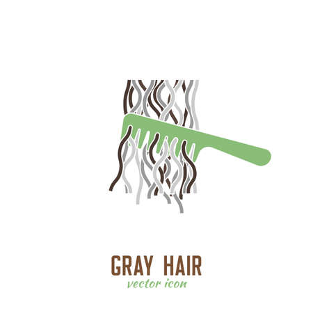 Gray hair icon. Hair problems collection. Vector illustration in flat style isolated on a white background. Beauty, dermatology and health care concept in green and brown colors.