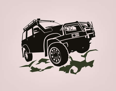 Off-road car. Off-roading suv adventure, extreme competition emblem and car club element. Beautiful vector illustration in monochrome color isolated on a light background. 일러스트