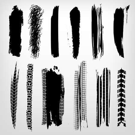 Tire imprints, paint, ink brush strokes, brushes, mud lines and scratches. Dirty artistic design elements. Editable vector illustration. Grunge elements set. Ilustração