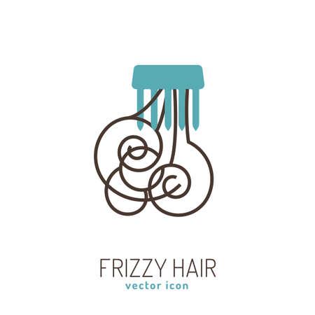 Icône de cheveux crépus. Collection de problèmes de cheveux. Illustration vectorielle dans un style plat isolé sur fond blanc. Concept de beauté, dermatologie et soins de santé dans les couleurs bleues et brunes.