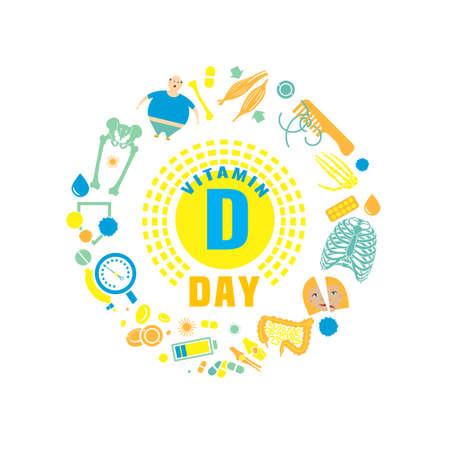 2 novembre - Giornata della vitamina D. Background creativo con segni e sintomi di carenza di vitamina D. Illustrazione vettoriale su uno sfondo bianco in uno stile piatto. Concetto di medicina, sanità e consapevolezza.