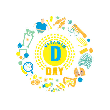2 November - Vitamin D day. Creative background with signs and symptoms of vitamin D deficiency. Vector illustration on a white background in a flat style. Medicine, healthcare and awareness concept.