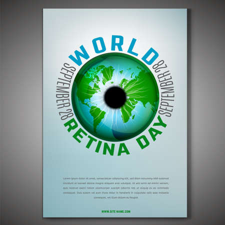 September 28 - world retina day. Vertical poster template with a globe image. Editable vector illustration in blue and green colors. Medical and healthcare concept.