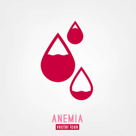 Anemia and Hemophilia icon. Drop shapes with blood level isolated on white background in flat style. Haemophilia disease awareness symbol. Vector illustration.
