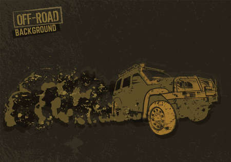 Off-Road hand drawn grunge image with a car silhouette. Textured horizontal  background for poster, banner or brochure design. Vector illustration. Editable graphic element in beige and brown colors.