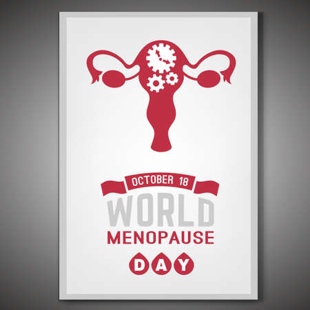 October 18 - World menopause day. Vertical poster in modern style. Editable vector illustration in red and grey colors isolated on a white background. Medical, healthcare and feminine concept.