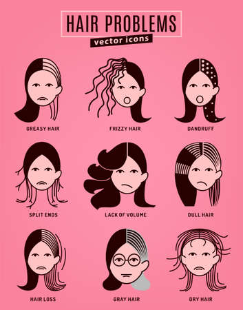 Hair problems collection. Vector illustration in modern style isolated on a pink background. Beauty, dermatology and health care concept in monochrome colors. Stockfoto - 104220445