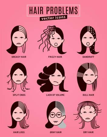 Raccolta di problemi ai capelli. Illustrazione vettoriale in stile moderno isolato su uno sfondo rosa. Concetto di bellezza, dermatologia e assistenza sanitaria in colori monocromatici.