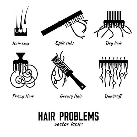 Hair problems icons set. Vector illustration in flat style isolated on a white background. Beauty, dermatology and health care concept in black color.