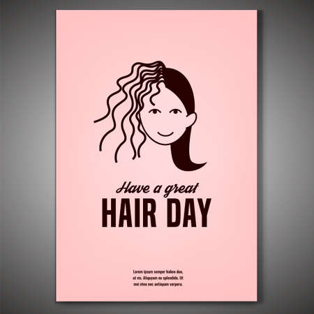 Have a great hair day. Vertical poster with woman face in light pink and brown colors. Editable vector illustration. Beauty, fashion and lifestyle creative concept.