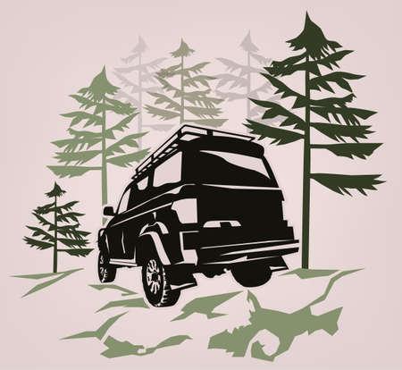 Voiture tout-terrain. Aventure suv hors route, emblème de compétition extrême et élément de club de voiture. Belle illustration vectorielle dans des couleurs gris foncé et vert isolé sur un fond clair. Vecteurs