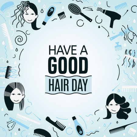 Have a good hair day. Square poster with woman faces in light blue and grey colors. Editable vector illustration. Beauty, fashion and lifestyle creative concept.