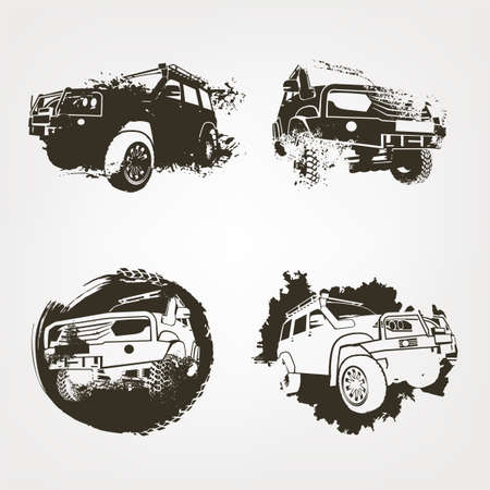 Off-road logo elements set. Extreme competition emblem. Off-roading suv adventure and car club design materials.