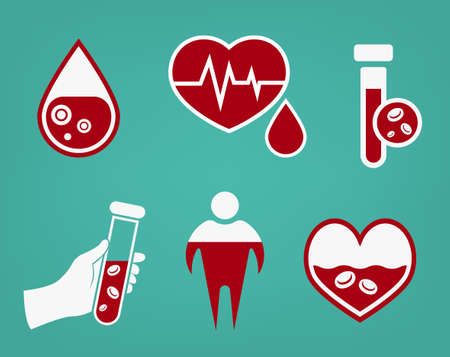 Anemia and Hemophilia icons set in red and white color. Heart shape, dropping blood, test-tubes signs on a green background in flat style. Haemophilia disease awareness symbol. Vector illustration.