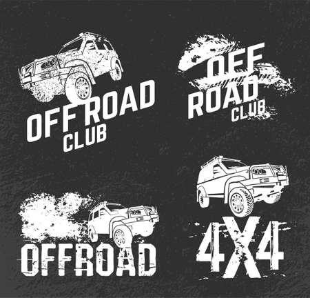 Off-road set. Extreme competition emblem. Off-roading suv adventure and car club elements.