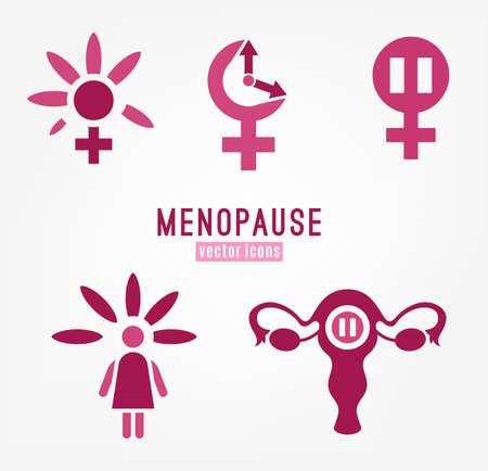 Ensemble d'icônes de ménopause. Vecteurs