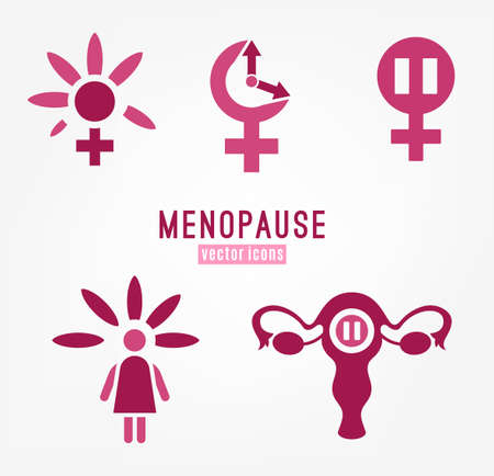 Menopause icons set.